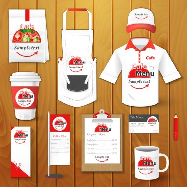 Set of restaurant corporate identity, burgers, uniform, flyer, shirt, cup, menu, package, apron,  coffee cup vector illustration