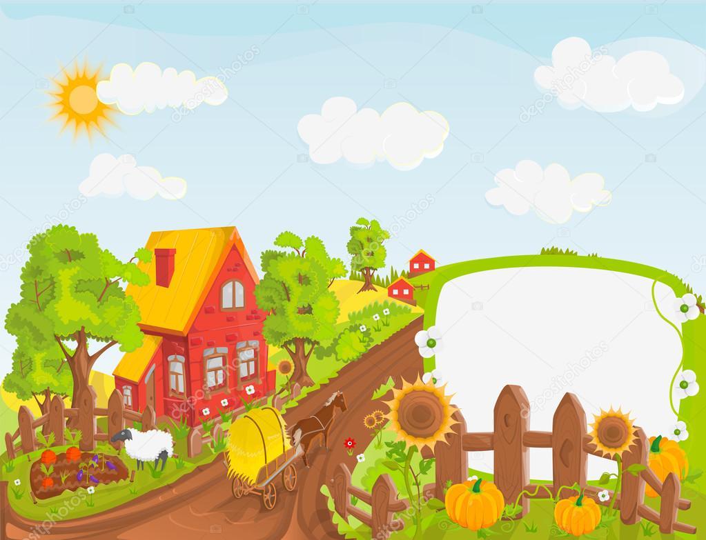 Rural landscape vector illustration