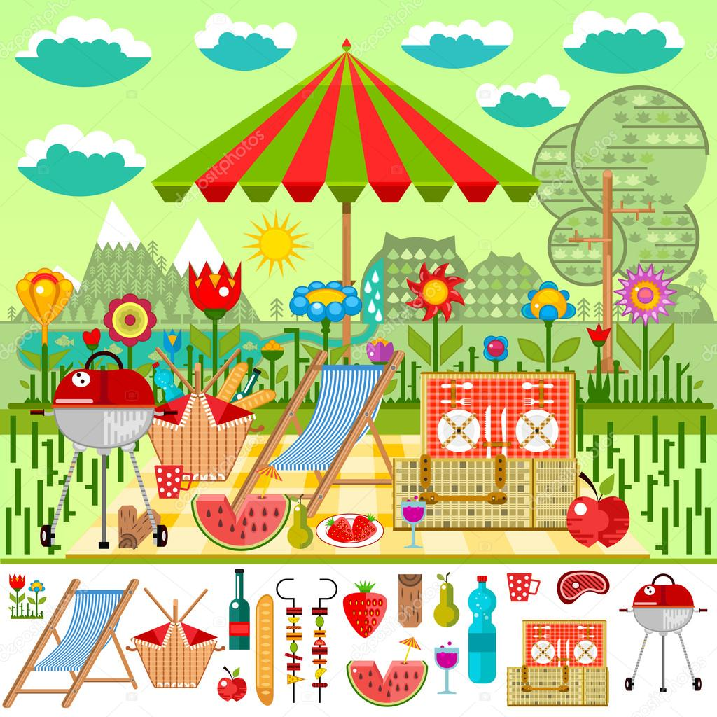 Summer picnic in the meadow with mountain views. Barbecue, basket with food, set of elements for a picnic vector illustration