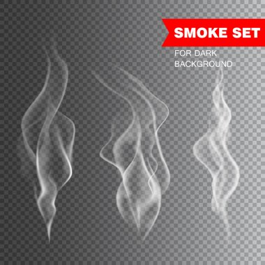 Isolated realistic cigarette smoke vector illustration