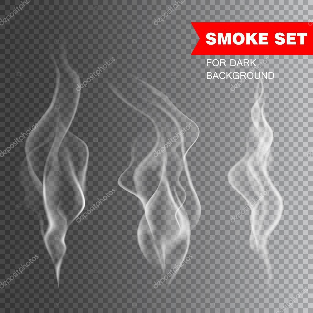 Isolated realistic cigarette smoke vector illustration