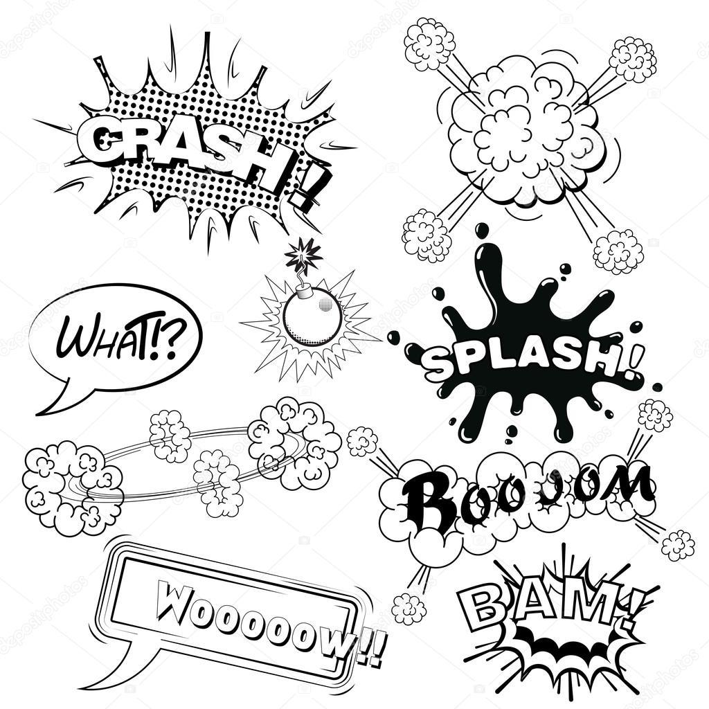 comic speech bubbles sound effects cloud explosion vector stock
