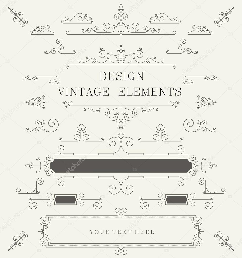 Vintage-Design-Vorlage, Ränder, retro-Elemente, Rahmen, für ...