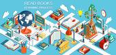 Fotografie Der Prozess der Bildung, das Konzept des Lernens und Bücher in der Bibliothek und im Klassenraum zu lesen. Online-Bildung isometrische flache Bauform. Vektor-illustration