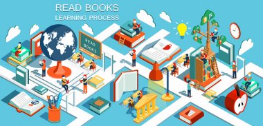 The process of education, the concept of learning and reading books in the library and in the classroom. Online education Isometric flat design. Vector illustration