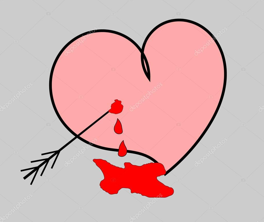 Tranendes Herz Mit Einem Pfeil Auf Der Abbildung Der Graue