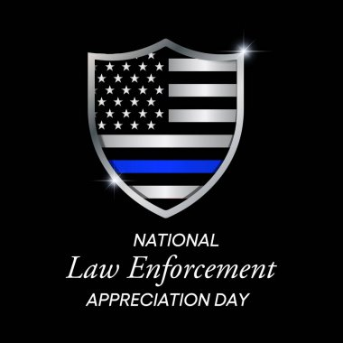 Vector illustration on the theme of National Law Enforcement appreciation day observed each year on January 9th across United States. icon