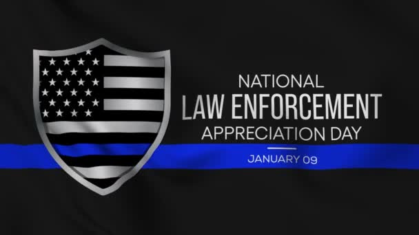 Video animation on the theme of National Law Enforcement appreciation day observed each year on January 9th across United States. Seamless loop.