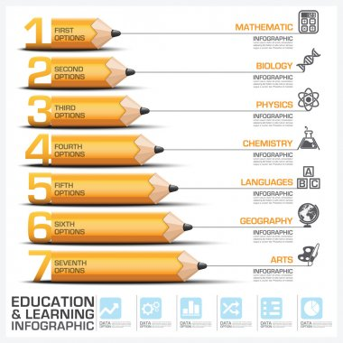 Education And Learning Step Infographic With Subject Of Pencil D