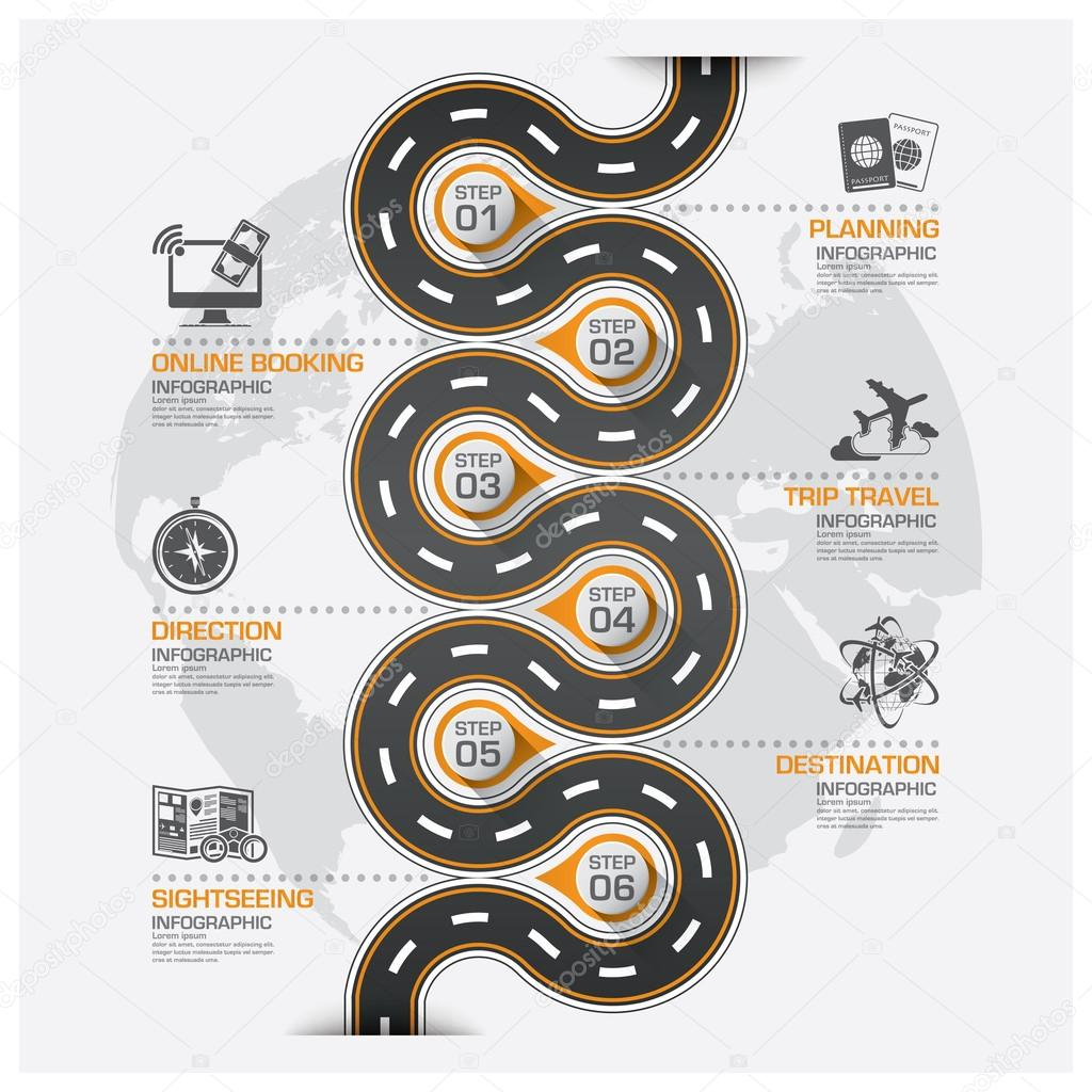 Road And Street Business Travel Curve Route Infographic Diagram