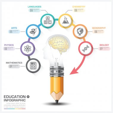 Education And Learning With Head Bulb Round Subject Step Infogra