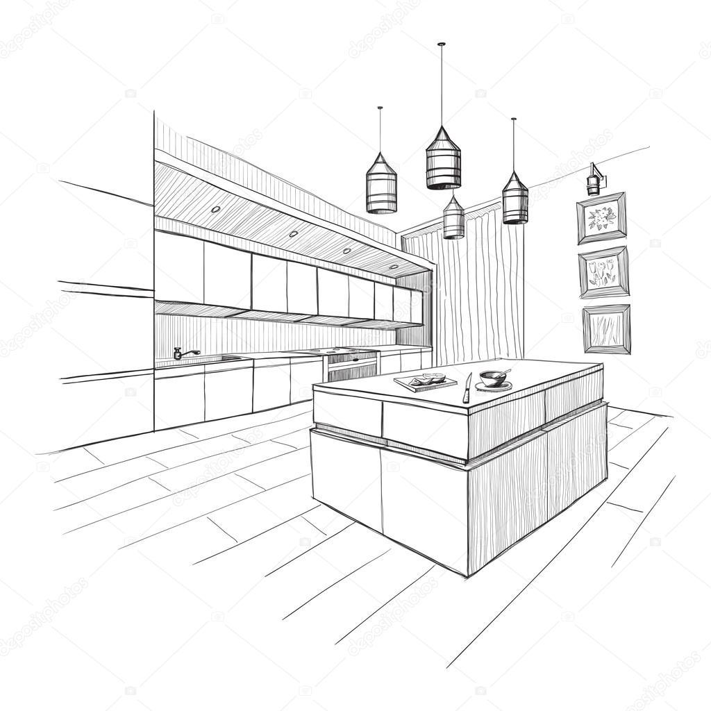 Desenho Interior Da Cozinha Moderna Com Ilha Vetor De Stock