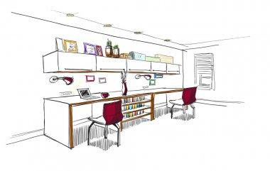 Home office interior sketch.