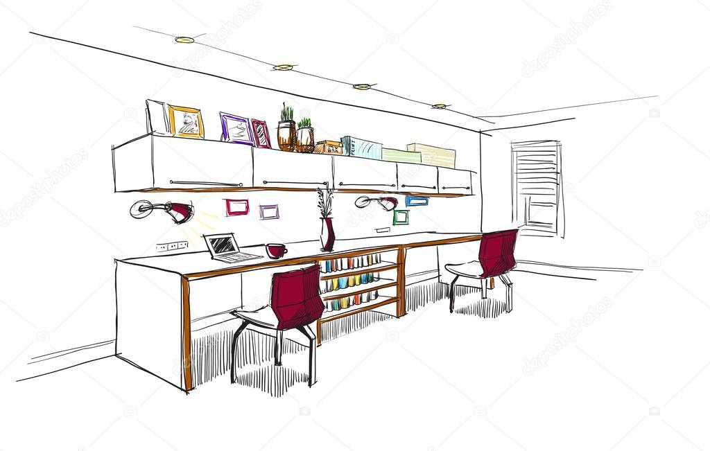 Home Office Interior Sketch Stock Vector C Avd 88 52406917