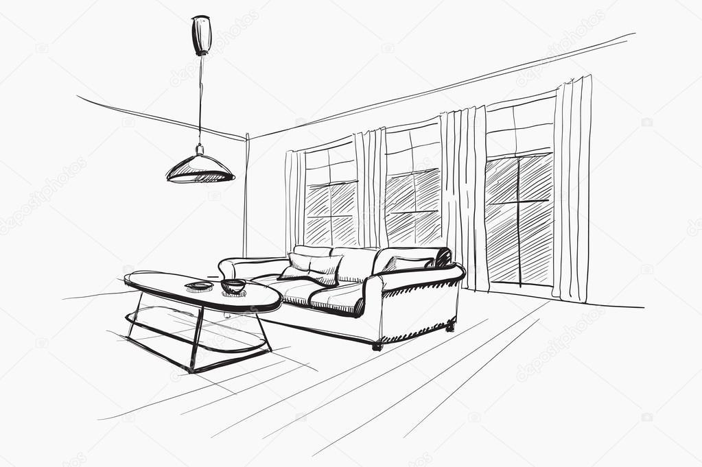 Living room interior sketch. — Stock Vector © AVD_88 #52406931