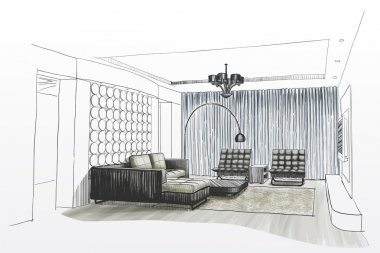 Living room interior sketch.
