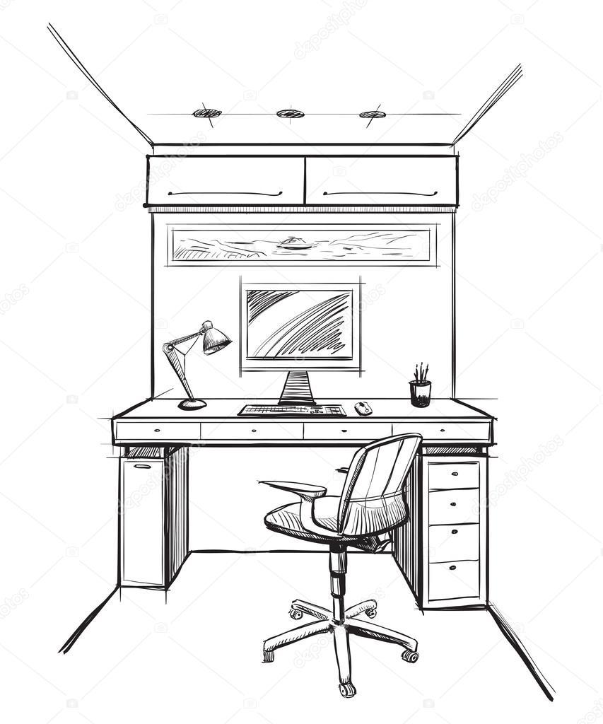 Kantoor aan huis interieur schets  u2014 Stockvector  u00a9 AVD 88 #62683641