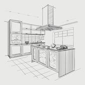 Interiéru skica moderní kuchyň s ostrůvkem