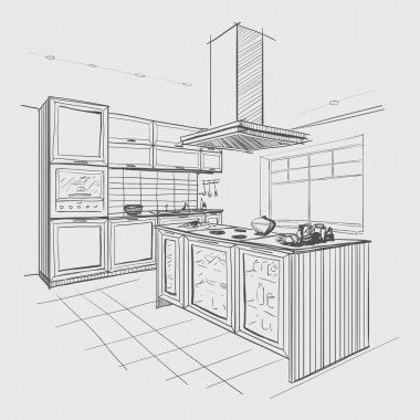 Interior sketch of modern kitchen with island. stock vector