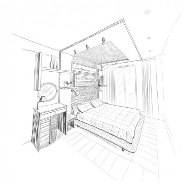 Bedroom interior sketch.