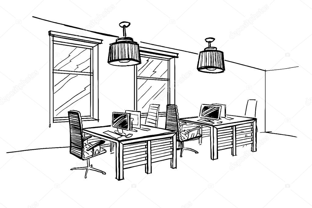 Modern Interior Sketch Of Open Space Office Stock