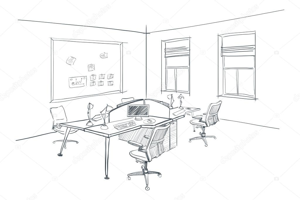 Interior Design Office Sketches modern interior sketch of open space office. — stock vector