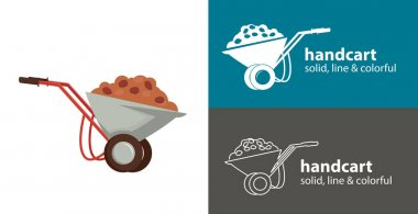 Handcart isolated vector flat icon. handcart with sand and stones line solid design element icon
