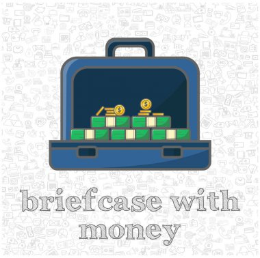 Briefcase full of money isolated vector flat illustration. briefcase full of money design element for illustration icon
