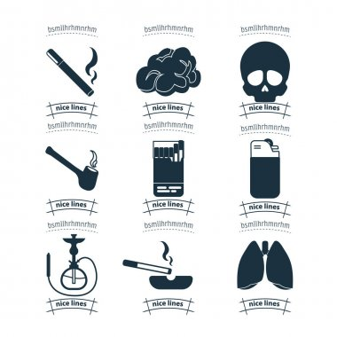 Smoking icon set with lighter tobacco pipe cigarette lighter, fire, death, shisha icon