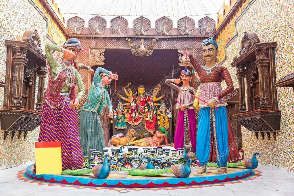 Durga puja pandal decorations stock photo neelsky 89909140 beautiful pandal containing ornamental puppet models resembling palace of rajasthan at durga puja festival photo by neelsky thecheapjerseys Images