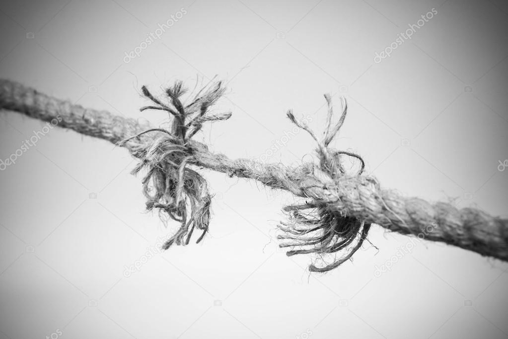 Awesome Rope Nearly Torn Apart Isolated U2014 Stock Photo