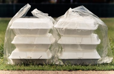Foam containers in clear plastic bags