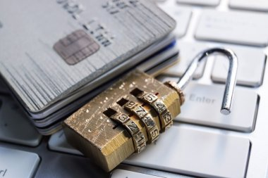 Unlocked security lock and credit cards