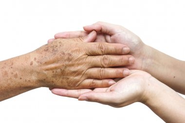 female hands touching old female hand