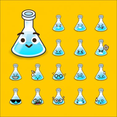 Collection of difference emoticon flask icon test tube chemical