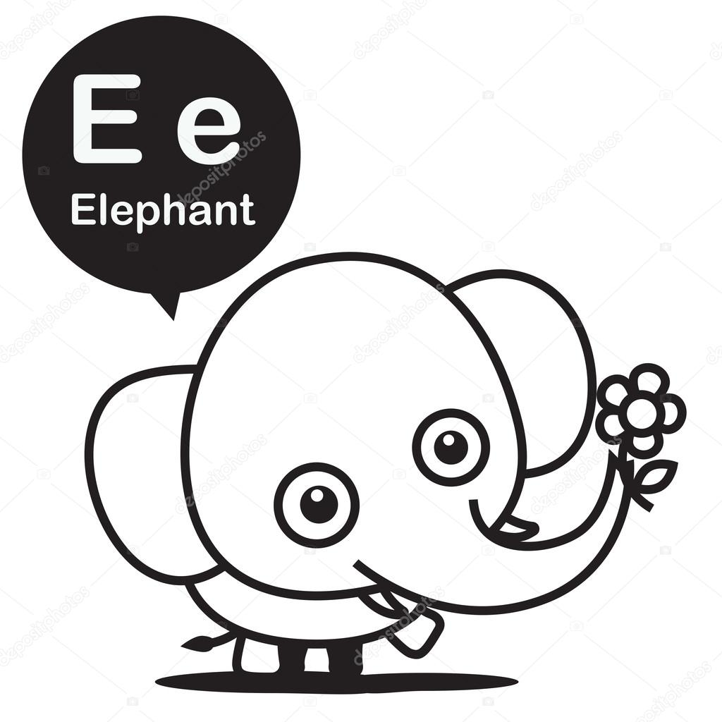 e elephant cartoon and alphabet for children to learning and col
