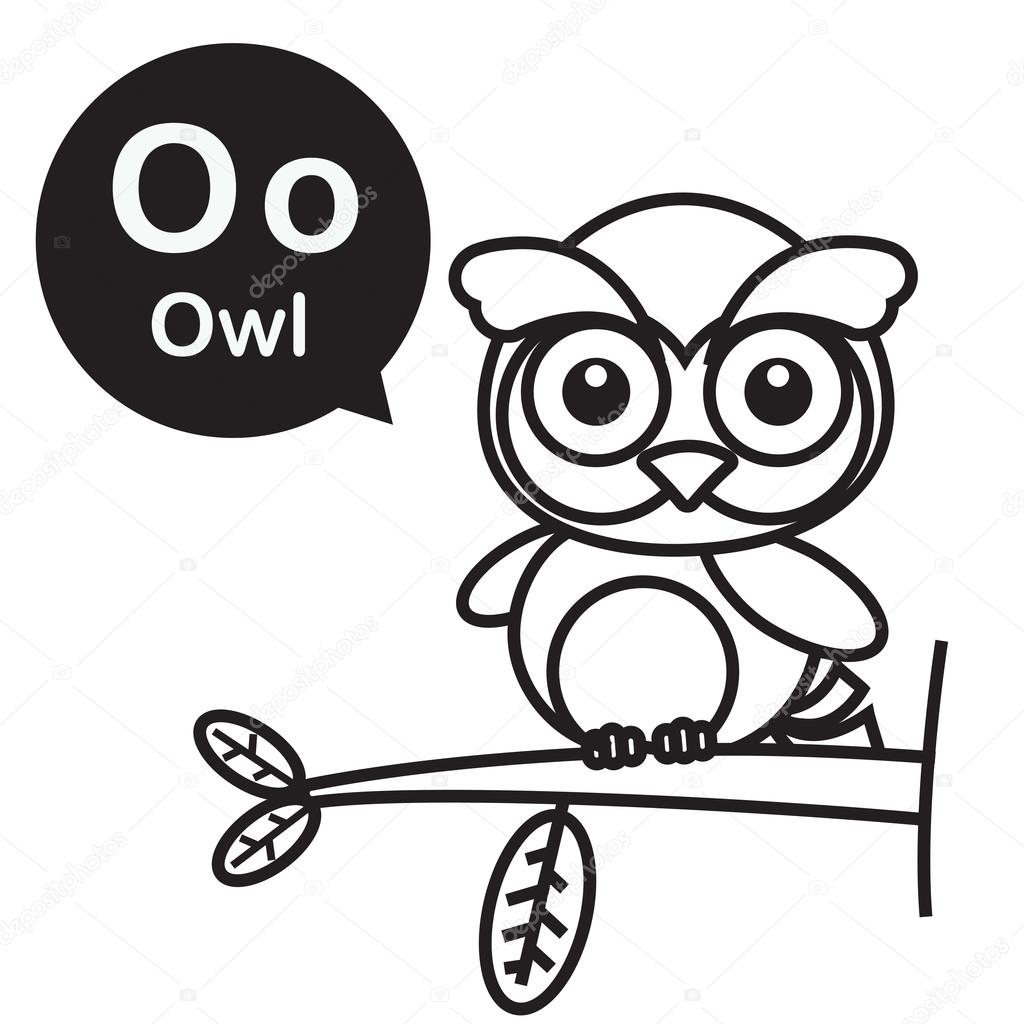 o owl cartoon and alphabet for children to learning and coloring