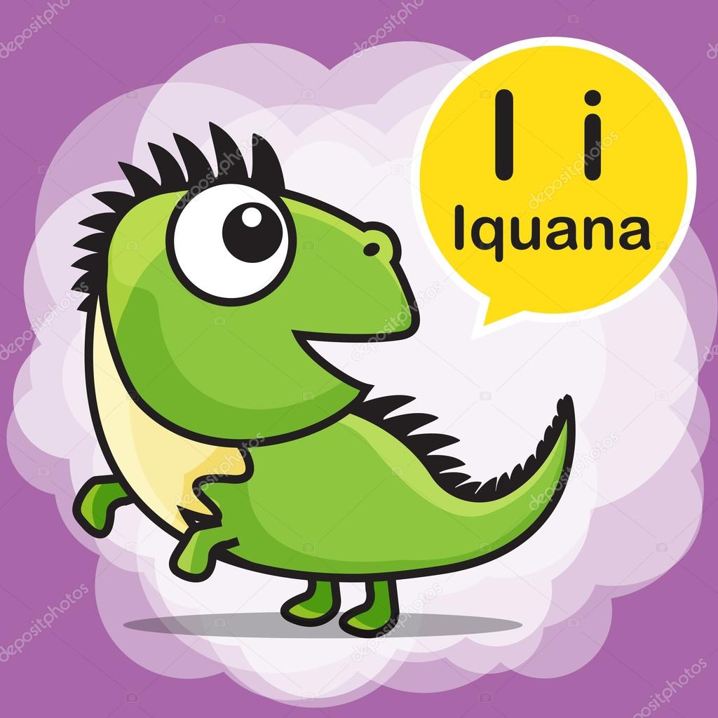 I Iguana color cartoon and alphabet for children to learning vec ...