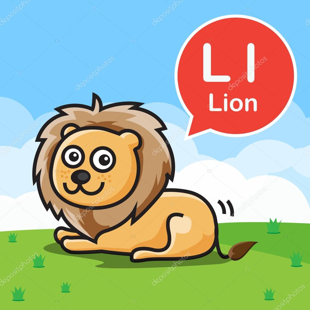 L Lion color cartoon and alphabet for children to learning vect ...