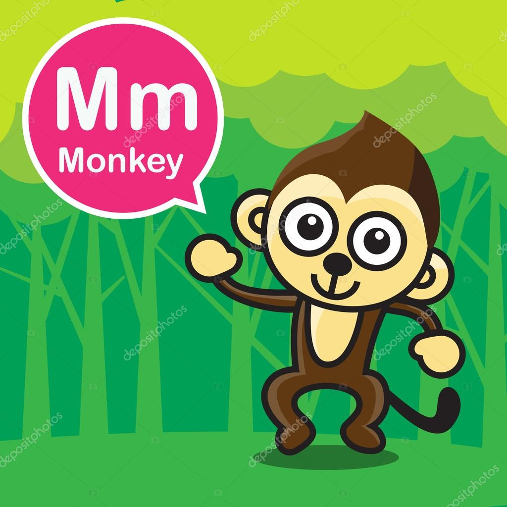 M Monkey Color Cartoon And Alphabet For Children To Learning Vec