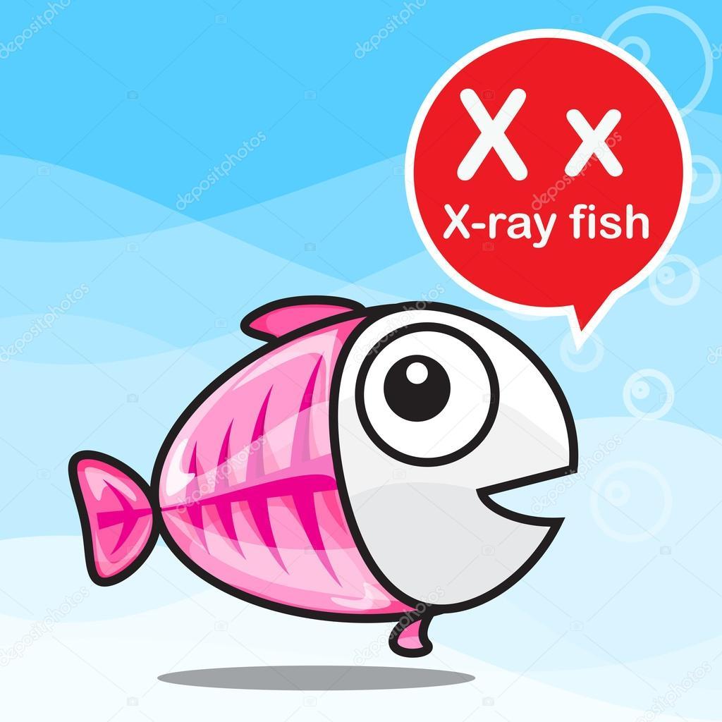 X rayos x peces color de dibujos animados y alfabeto para niños para ...