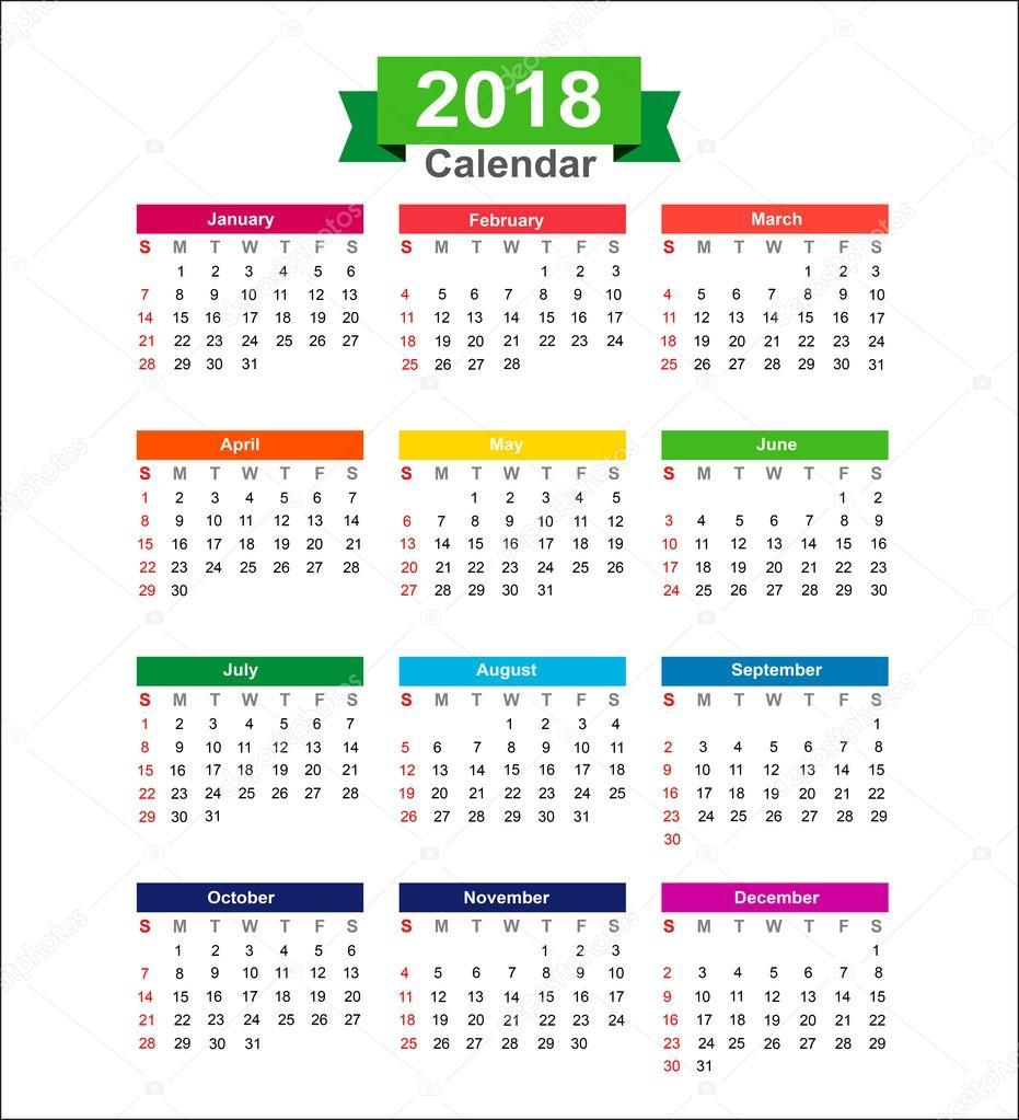 éves naptár letöltés 2018 éves naptár elszigetelt fehér háttér vektor Illustra hoz  éves naptár letöltés