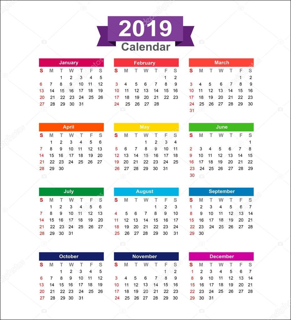 Calendario Dibujo 2019.Calendario Del Ano 2019 Aislado En Fondo Blanco Vector