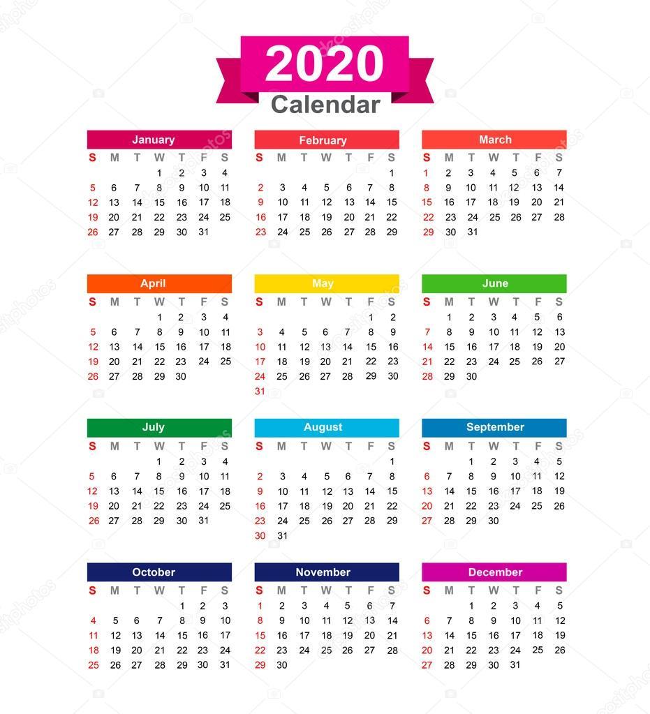 Anno Calendario 2020.Calendario Anno 2020 Isolato Su Sfondo Bianco Vettoriale