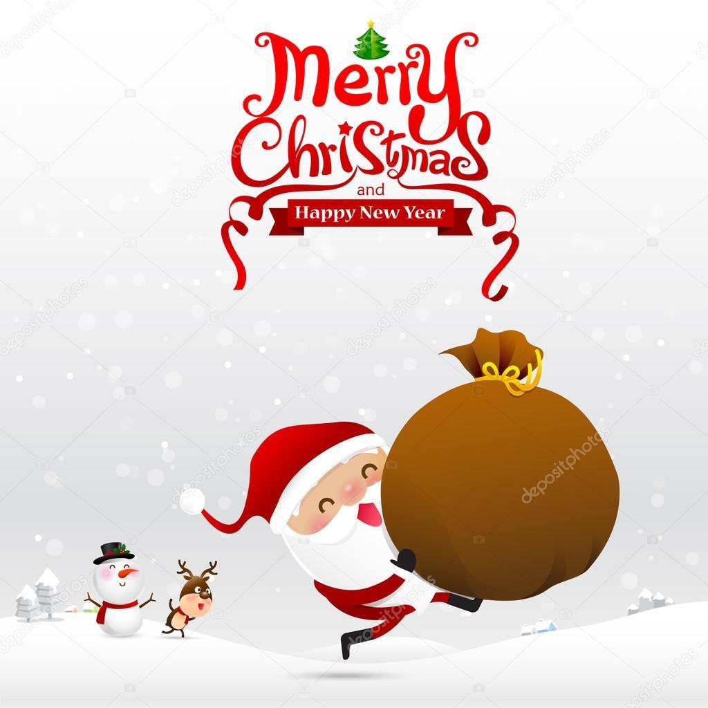 Frohe Weihnachten-Text und dem Weihnachtsmann cartoon mit roten ...