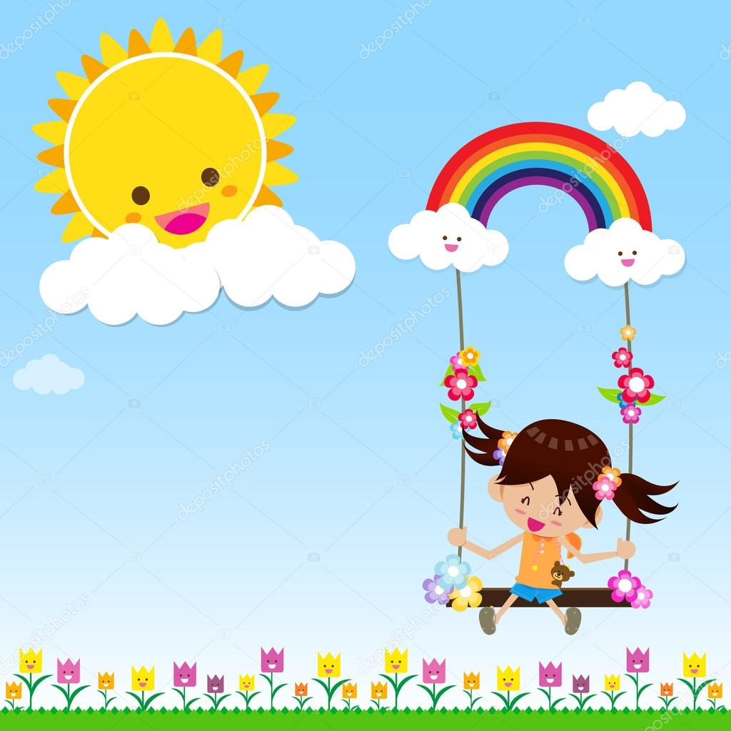 Girl with Sun Rainbow and Cloud 002