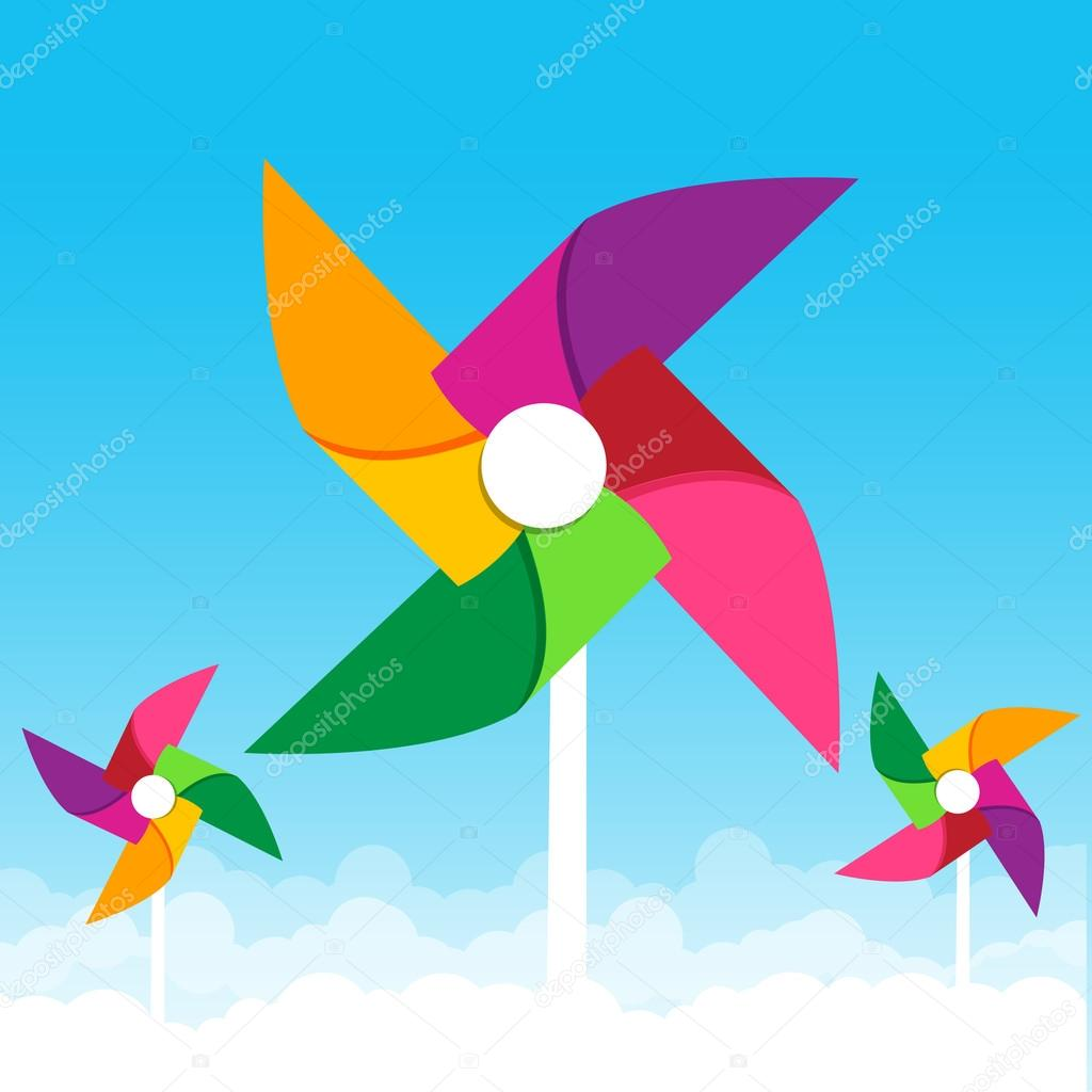 Colorful paper wind turbine on blue sky background vector illust