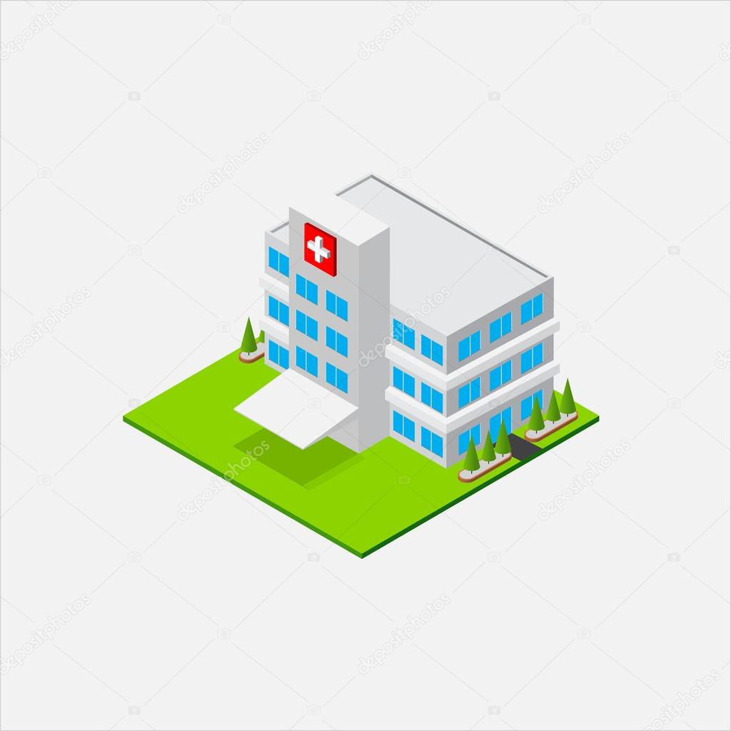 Isometric Small Hospital healty and medical center