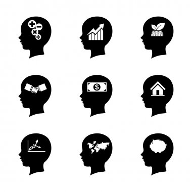 Set of people head icon, thinking of the brain,business concept,
