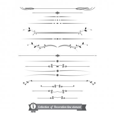 Collection of decorative line elements, border and page rules vector illustration eps10 stock vector